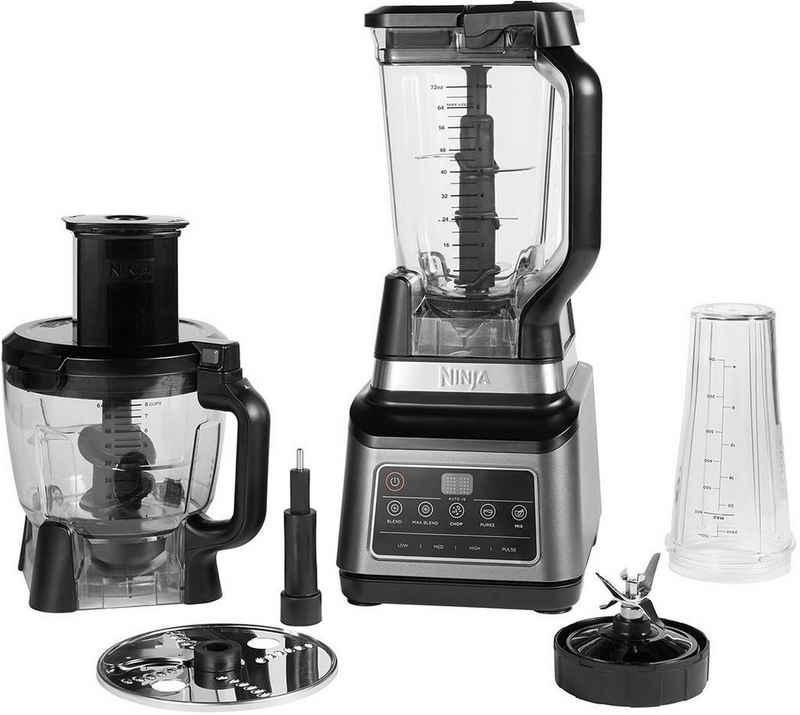 NINJA Kompakt-Küchenmaschine 3-in-1 mit Auto-iQ BN800EU, 1200 W, 2,1 l Schüssel, 1,8 l Schüssel, 0,7 l Tasse und weiterem Zubehör