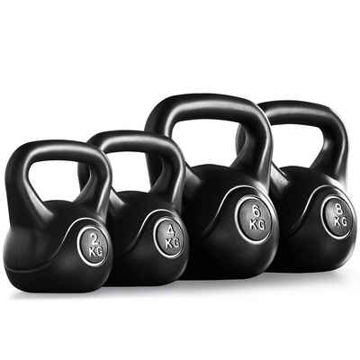 Yaheetech Kettlebell, Basic Kugelhantel Set Fitness Schwunghantel Kunststoff Gewichte Hantel für Krafttraining 2 bis 8 KG
