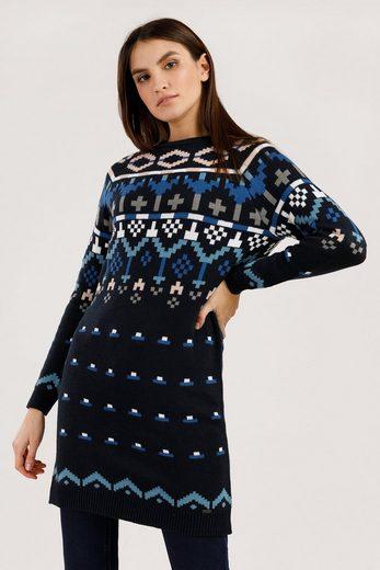Finn Flare Kleid mit farbigem Strickdesign