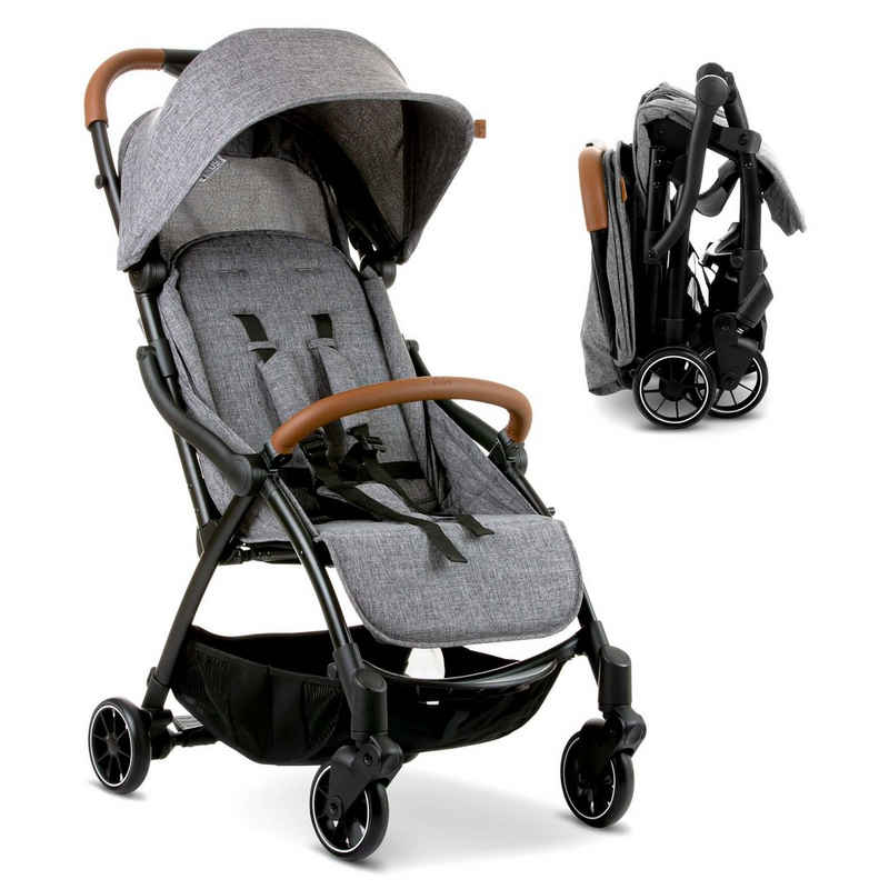 ABC Design Kinder-Buggy »Flash - Woven Graphite«, (4-tlg), Reisebuggy mit Liegefunktion, Einhand-Faltung und Transporttasche