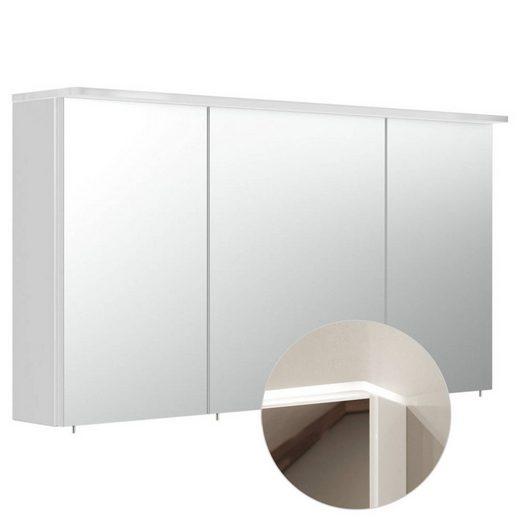 Lomadox Spiegelschrank »NEWLAND-02« 120cm inkl. LED-Acryllampe, Hochglanz weiß, B/H/T: 120/63,5/17-22cm