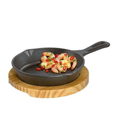 Küchenprofi Pfannen-Set »Servierpfanne mit Stielgriff Holzbrett rund«, Gusseisen, Holz (2-tlg), Pfanne
