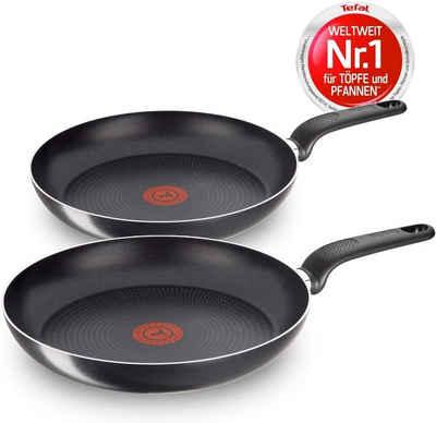 Tefal Pfannen-Set »Only Cook«, Aluminium (Set, 2 Tlg-tlg., Set), 24 cm, 28 cm, Antihaft Bratpfannen, integrierte Temperaturanzeige, nicht Induktionsfähig