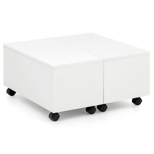 FINEBUY Couchtisch »FB52344«, Couchtisch 60 x 60 cm Weiß Hochglanz Rollbar mit Schublade Wohnzimmertisch mit Staufach Sofatisch Wohnzimmer Quadratisch