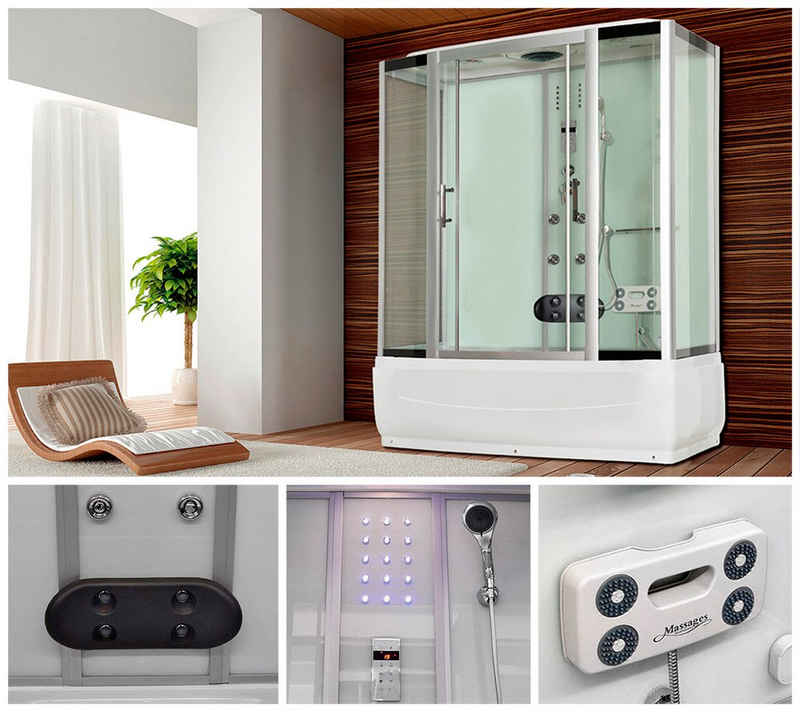 HOME DELUXE Komplettdusche »Diamond BIG«, BxT: 190x100 cm, Sicherheitsglas, 1-tlg., Dusche/Wanne/Whirlpool/Sauna