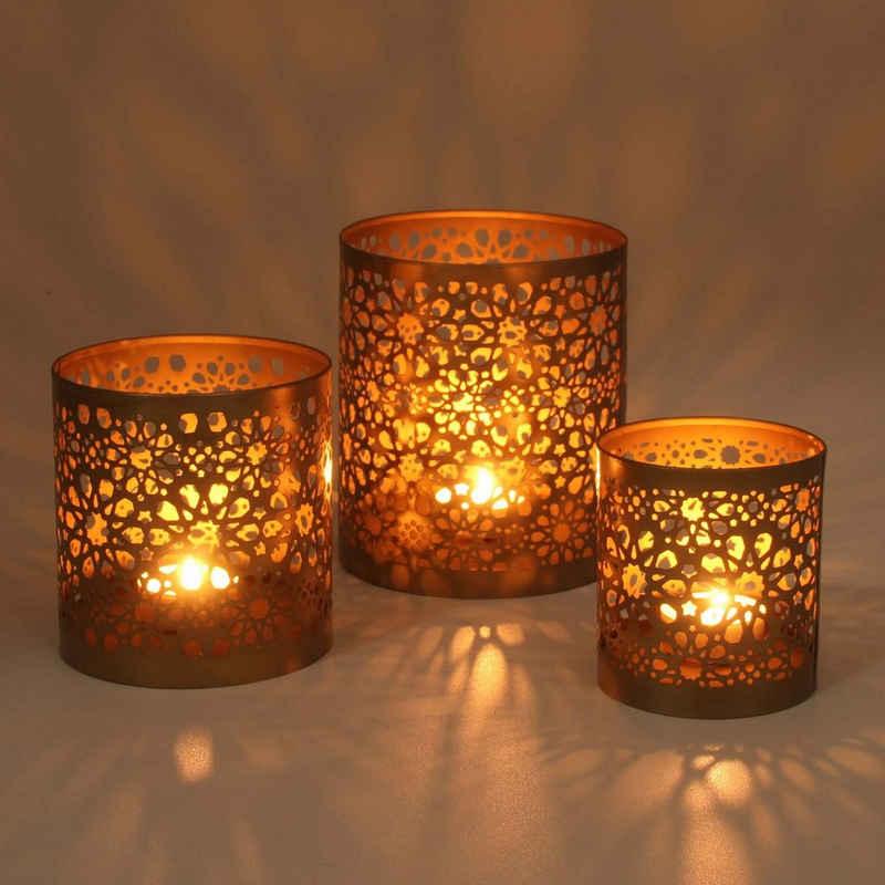 Casa Moro Teelichthalter »Orientalische Windlichter 3er Set Navin in Antik Gold Look mit filigranen Schatten, Marokkanische Teelichhalter rund Kerzenhalter, WLS505« (3 Stück, 3er Set), WLS505