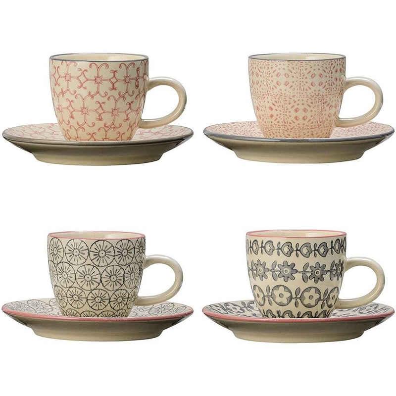 Bloomingville Espressotasse »Cécile Espresso Cup & Saucer,Rose,Stoneware«, 90ml, 4er Set Espresso Tassen, 4-teilig Kaffeetasse, Espressotasse, Mokkatasse, Tasse, klein, rosa