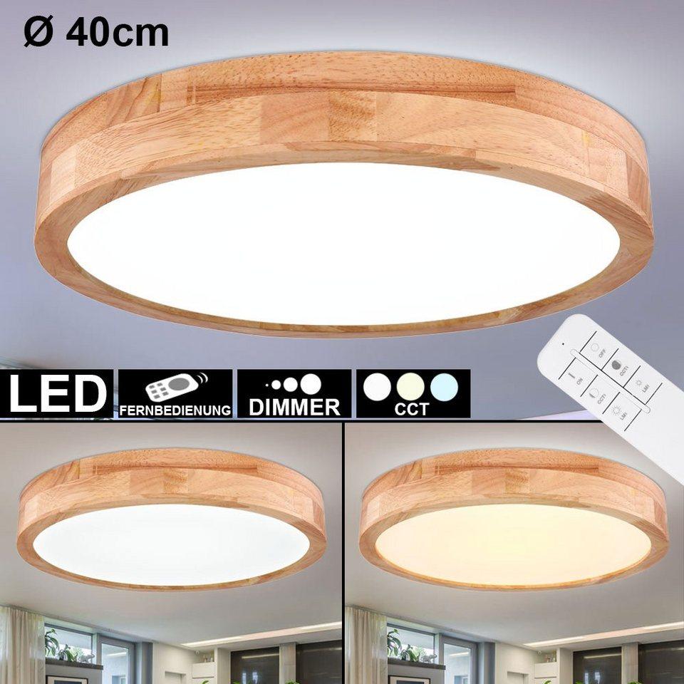 etc shop Deckenleuchte, LED Decken Leuchte dimmbar Holz Optik Tageslicht  Lampe Design Strahler Wohn Zimmer Beleuchtung Fernbedienung online kaufen    ...