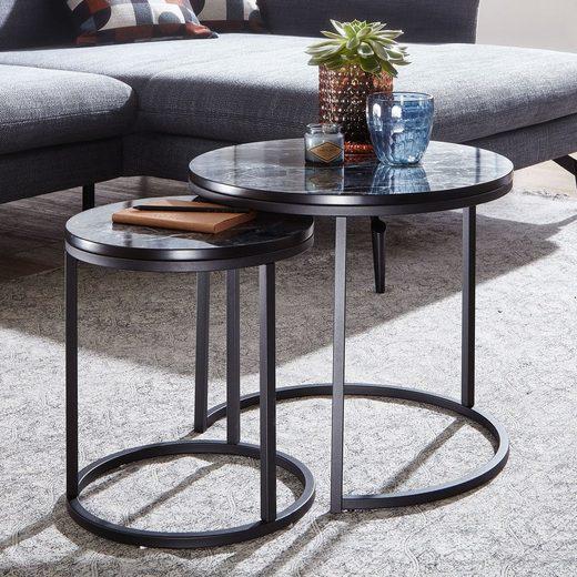 FINEBUY Satztisch »FB24020«, 2er Set Marmor Optik Rund Couchtisch 2-teilig Tischgestell Metall Kleine Wohnzimmertische Moderne Satztische