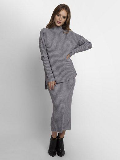 Apart 2-in-1-Kleid gerippt und mit Stehkragen