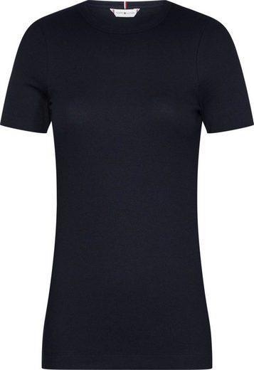 Tommy Hilfiger Rundhalsshirt »TH ESSENTIAL SKINNY RIB TEE SS« mit Streifen oder unifarben & Tommy Hilfiger Logo-Flag