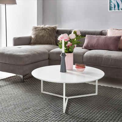 FINEBUY Couchtisch »FB45682«, Design Couchtisch WHITE 80 cm Rund Weiß Matt lackiert Moderner Wohnzimmertisch MDF Holz Lounge Sofa Tisch Metall Gestell