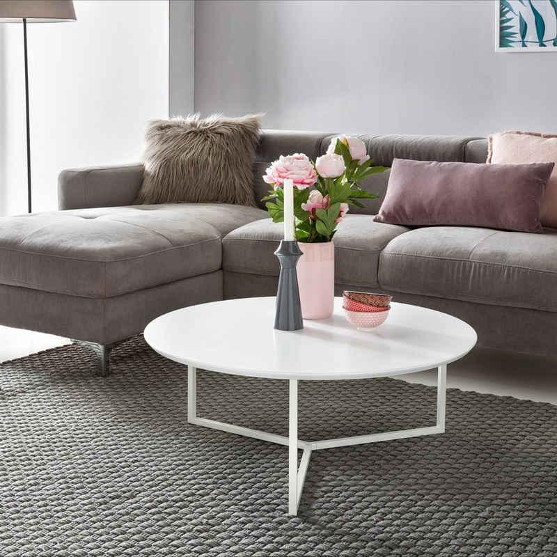 FINEBUY Couchtisch »FB45682«, Design Couchtisch 80 cm Rund Weiß Matt lackiert Moderner Wohnzimmertisch MDF Holz Lounge Sofa Tisch Metall Gestell