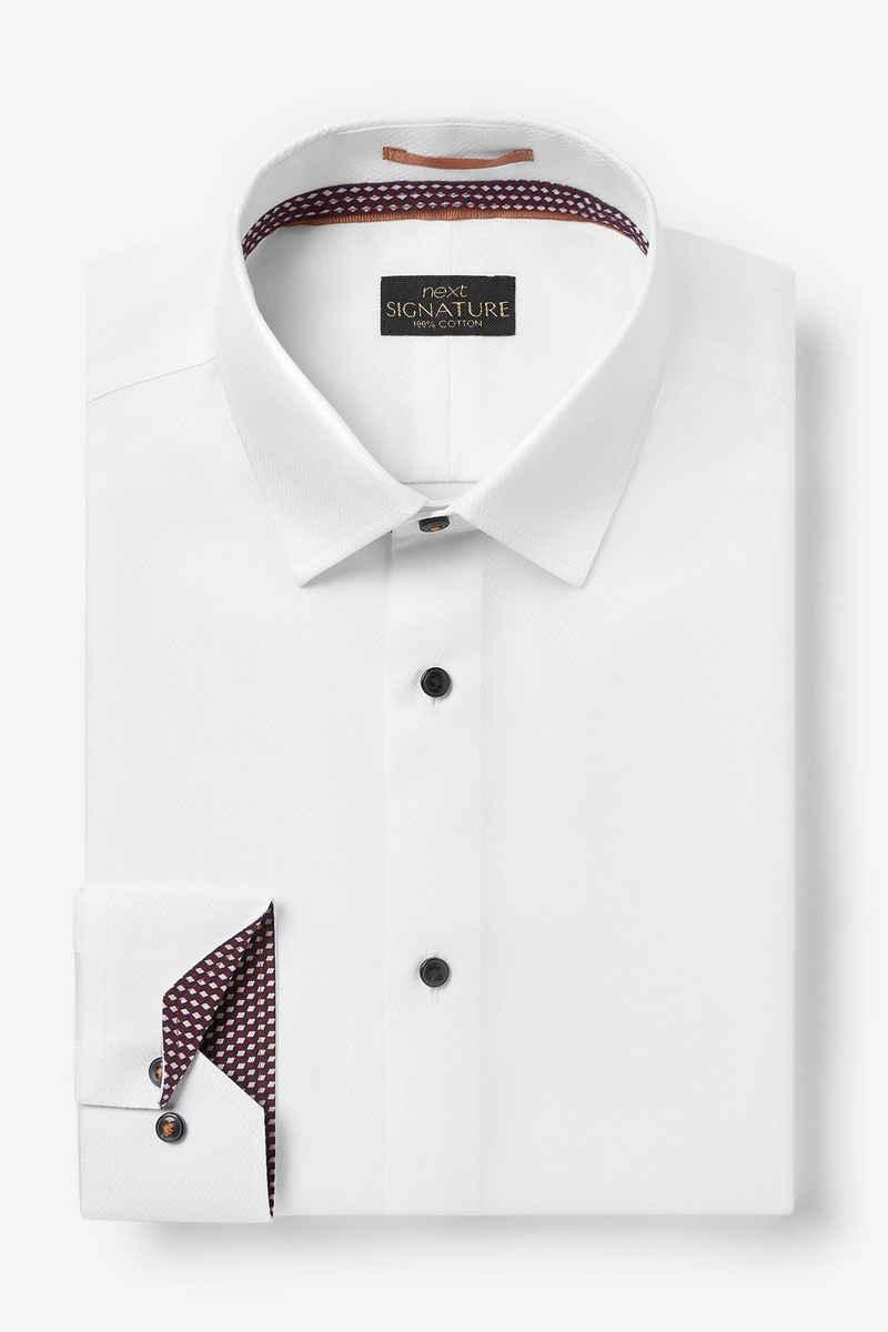 Next Businesshemd »Hemd mit Besatz, Sportmanschette - Slim Fit« (1-tlg)