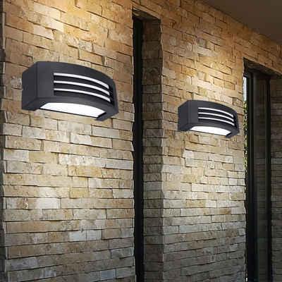etc-shop LED Außen-Wandleuchte, 2x LED Außen Wand Leuchten Terrassen Grundstück Strahler Hof Lampen UP DOWN grau
