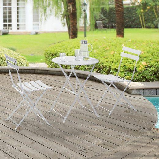en.casa Gartenmöbelset, (3-tlg), »Caprile« Bistro Set Sitzgruppe Tisch rund mit 2 Stühlen Weiß