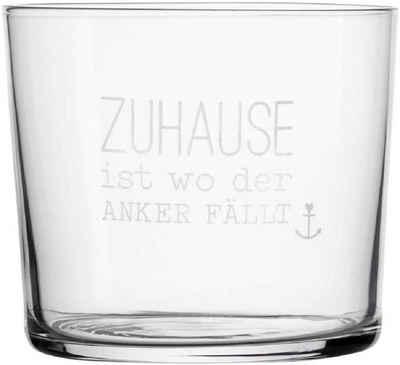 """Räder Design Glas »Wasserglas """"Zuhause ist da wo der Anker fällt""""«, Glas mit Frostung, Mit Druck"""