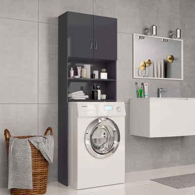 vidaXL Waschmaschinenunterschrank »vidaXL Waschmaschinenschrank Hochglanz-Grau 64×25,5×190 cm Spanplatte«