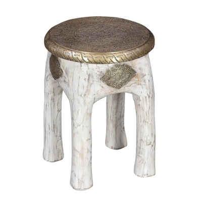 Casa Moro Sitzhocker »Orientalischer Sitzhocker Hiya Weiss Höhe 45 x Ø 34 cm rund aus Massivholz Mango mit Messingintarsien, Kunsthandwerk Pur, Vintage Holz-Hocker Shabby Chic Beistelltisch, MA13-25W« (1 St), Handmade