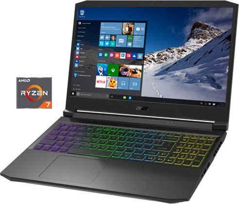 Acer AN515-45-R1HQ Notebook (39,62 cm/15,6 Zoll, AMD Ryzen 7 5800H, GeForce RTX 3070, 1000 GB SSD, Kostenloses Upgrade auf Windows 11, sobald verfügbar)