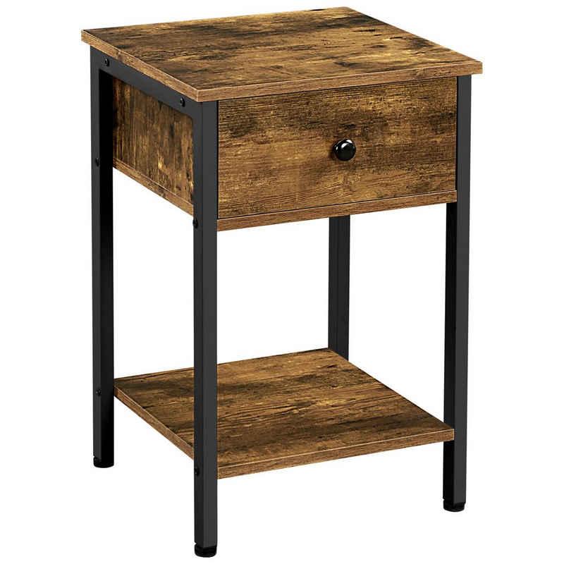 Yaheetech Nachttisch, Nachtkommode mit 1 Schublade Beistelltisch Nachtschrank für Wohnzimmer/Schlafzimmer 40×40× 61cm