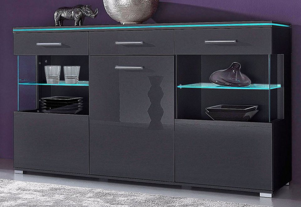 highboard grau hochglanz designer highboard swing wooden. Black Bedroom Furniture Sets. Home Design Ideas
