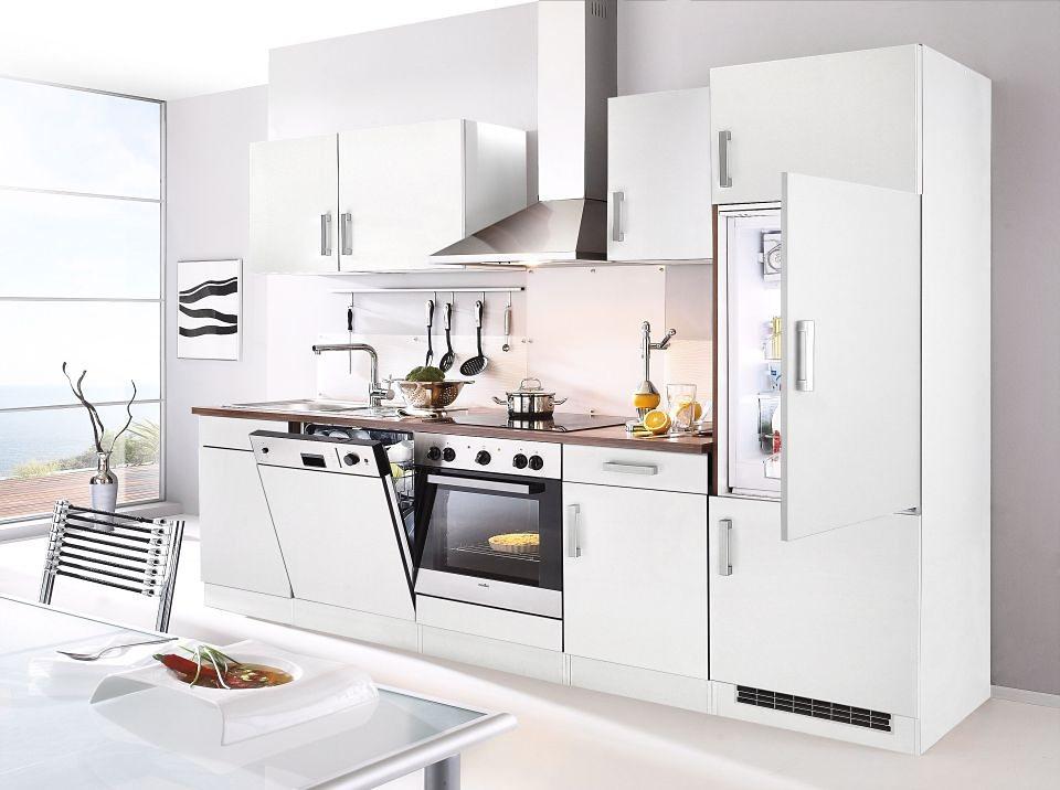 Küchenzeile mit E-Geräten »Toronto«, Breite 280 cm in nussbaumfarben/weiß