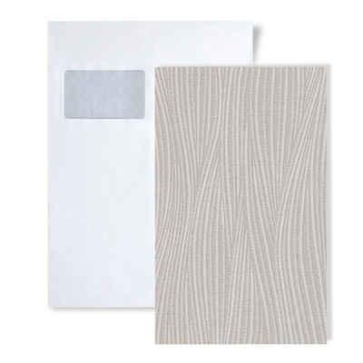 Edem Schaumtapete »S-82050BR56«, gestreift, leicht glänzend, unifarben, Strukturmuster, (1 Musterblatt, ca. A5-A4), grau, platin-grau, weiß