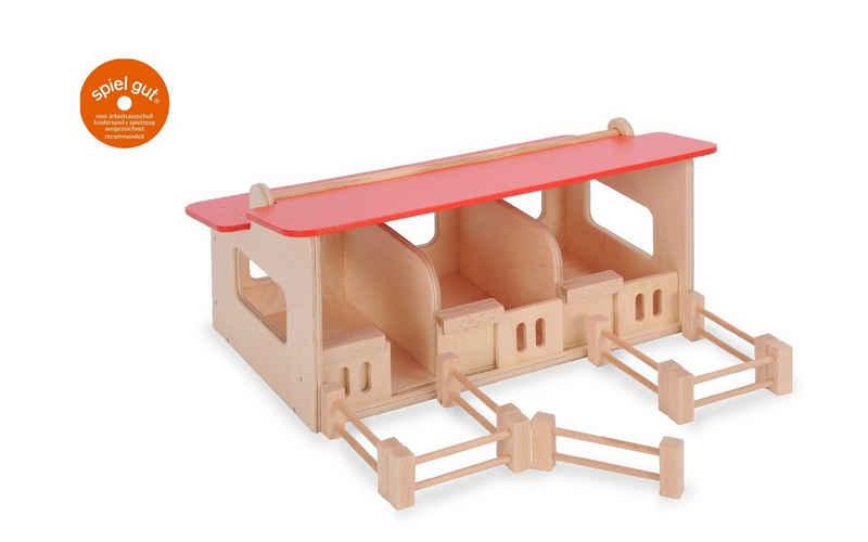LeNoSa Spielwelt »Pferdestall aus Holz mit aufklappbaren Dach & aufschiebbaren Boxentüren • Made in Germany • Bätz Holzspielwaren«