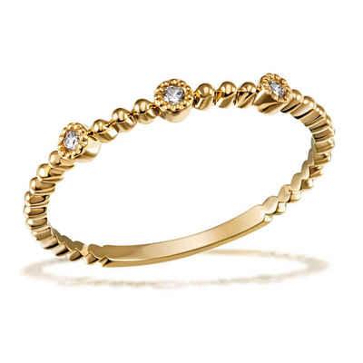 goldmaid Goldring, 585/- Gelbgold 3 Brillanten 0,04 ct. P2/H