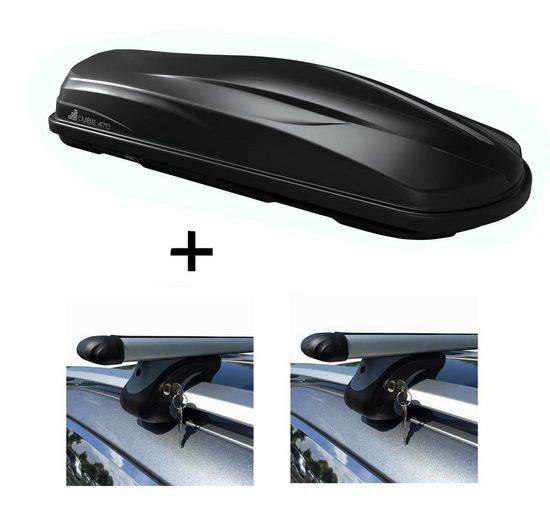 VDP Fahrradträger, Dachbox/Gepäckbox CUBE470 + Relingträger VDP L120 kompatibel mit Toyota Yaris Verso ab 00