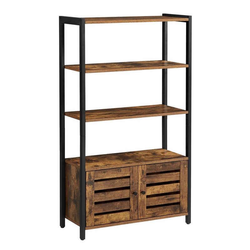 VASAGLE Bücherregal »LSC75«, Bücherschrank mit 3 Ablagen, 2 Lamellentüren, 70 x 30 x 121,5 cm