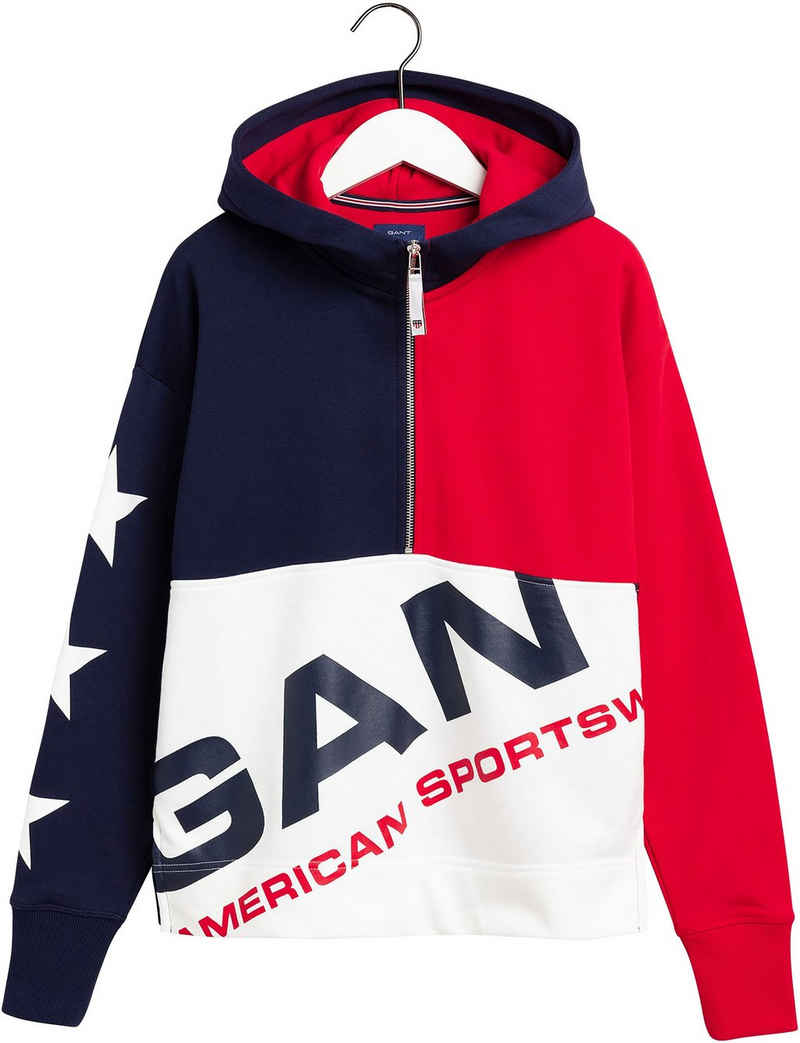 Gant Kapuzensweatshirt in Colorblocking-Design und Logo-Print