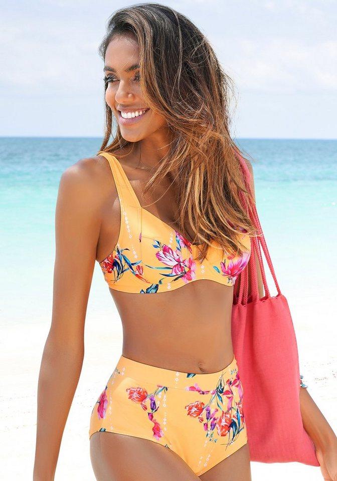 Bademode - Sunseeker Highwaist Bikini Hose »Modern«, mit floralem Design › gelb  - Onlineshop OTTO
