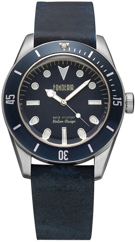 fonderia -  Chronograph »UAP6A002UBB  Herren Uhr P-6A002UBB Leder«, (Analoguhr), Herren Armbanduhr rund, groß (ca. 43,5mm), Lederarmband schwarz