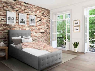 Home affaire Polsterbett »Vaine«, Knopfheftung in dick gepolstertem, weichem Kopf- und Fußteil, in 5 Breiten, auch in Länge 220 cm, incl. Roll-Lattenrost