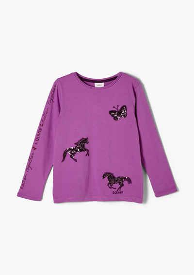 s.Oliver Langarmshirt »Jerseyshirt mit Pailletten-Details« (1-tlg) Pailletten, Glitzer