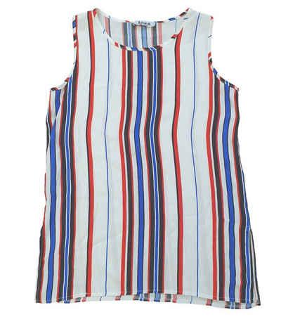 Liebesglück Shirttop »Liebesglück Strand-Shirt gestreiftes Damen Sommer-Top aus semitransparentem Stoff Mode-Shirt Weiß«