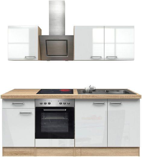 Küchenzeile mit E-Geräten »Florenz«, Breite 210 cm