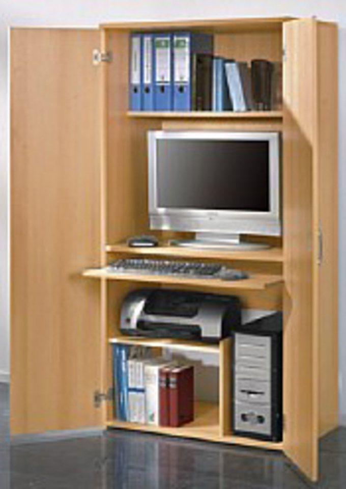 PC-Schrank, Höhe ca. 161 cm, mit Tastaturauszug und Druckerfach