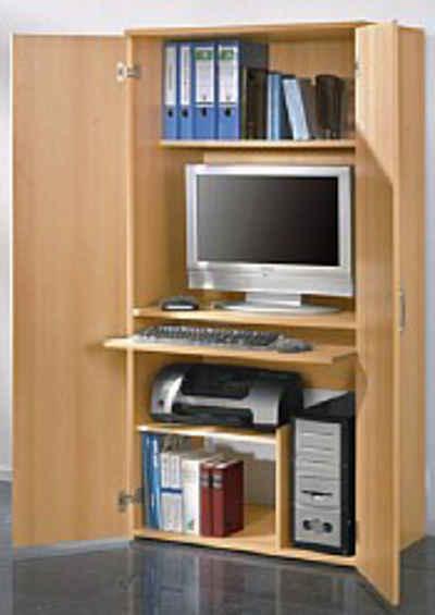 PC Schrank Hhe Ca 161 Cm Mit Tastaturauszug Und Druckerfach