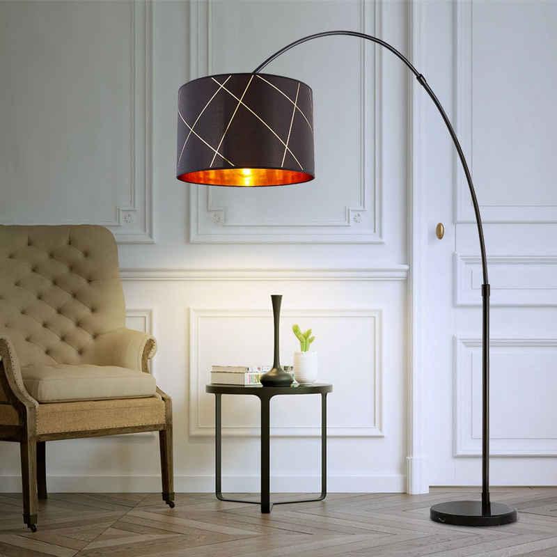 etc-shop LED Bogenlampe, Bogenlampe Esstisch Bogenstehlampe gold schwarz Stehlampe groß Wohnzimmer Stehleuchte höhenverstellbar, mit Marmorfuß und Textilschirm, 1x E27, LxH 205 x 200 cm