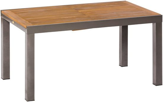 MERXX Gartentisch »Santorin«, Eukalyptus/Alu, ausziehbar, 200x90 cm, natur