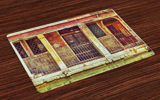Tischdecke, »Waschbare Stoff Esszimmer Küche Tischdekorations Digitaldruck«, Abakuhaus, (4-teilig, 4 Teilig-St., Set aus 4x), Venedig Im Alter von Italienisches Gebäude