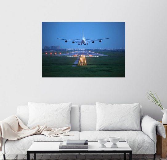 Posterlounge Wandbild, Landung bei Nacht