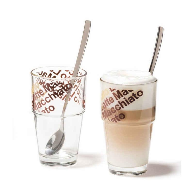 LEONARDO Latte-Macchiato-Glas »Café Latte mit Löffeln 4er-Set Solo«, Glas