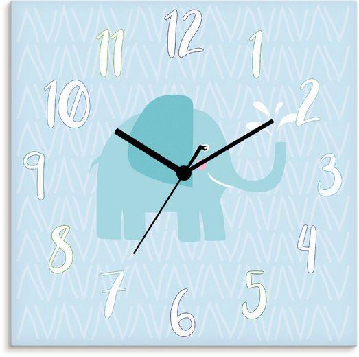 Artland Wanduhr »Elefant auf blau« (lautlos, ohne Tickgeräusche, nicht tickend, geräuschlos - wählbar: Funkuhr o. Quarzuhr, moderne Uhr für Wohnzimmer, Küche etc. - Stil: modern)