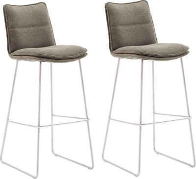 MCA furniture Barhocker »Hampton« (Set, 2 St., 2-er), Barstuhl 180°drehbar mit Nivellierung, Chenille Optik, Barstuhl bis 120 Kg belastbar