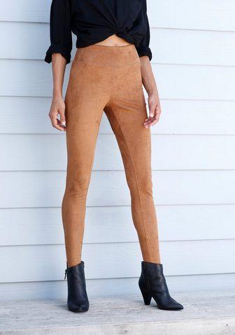 LASCANA Leggings in Velourleder-Optik
