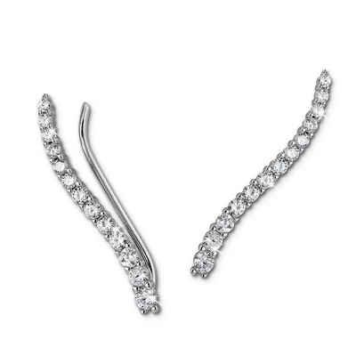 SilberDream Paar Ohrklemmen »GSO455W SilberDream weiß Ear Cuff Ohrringe« (Ohrklemme), Damen Ohrklemme Ear Cuff 13 kleine Zirkonias 925 Sterling